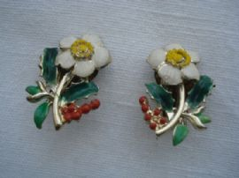 1960's Christmas Rose Earclips signed Exquisite (sold)